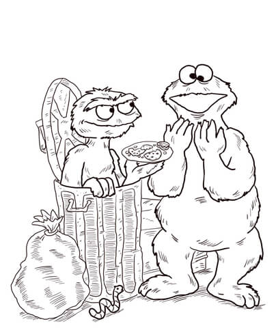 404x480 Oscar And Cookie Monster Coloring Page Free Printable Coloring Pages