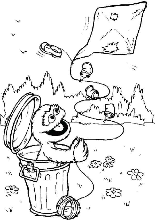 600x848 Oscar The Grouch Coloring Pages Playing Kite From Garbage Can