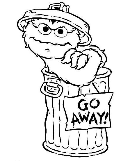 447x554 Oscar The Grouch Coloring Page George Sesame