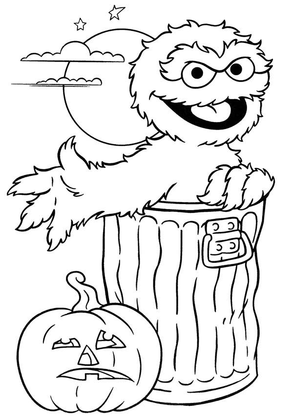 600x860 Sesame Street Halloween With Oscar Coloring Page Color Luna
