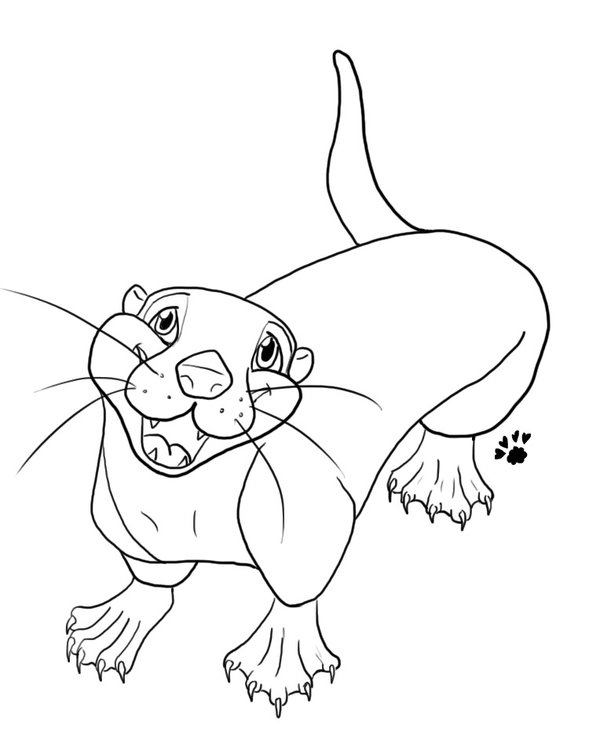 600x754 River Otter Lineart By Dreampaws101