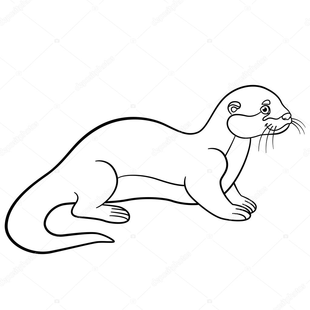 1024x1024 Coloring Pages. Little Cute Otter Smiles. Stock Vector Ya