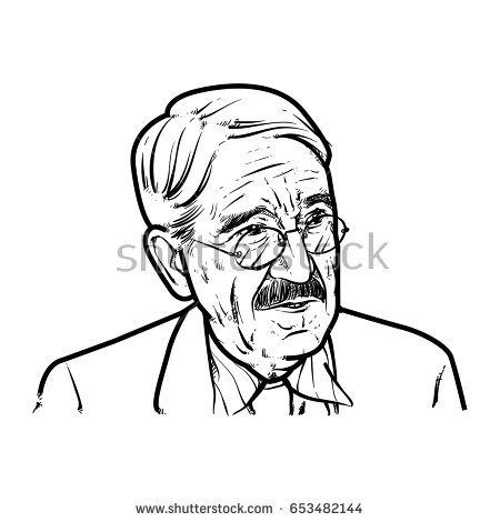 450x470 John Dewey Hand Drawing Outline, John Dewey Vector Illustration