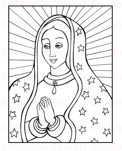 485x600 Our Lady Guadalupe Coloring Page Coloring Pages Our Lady