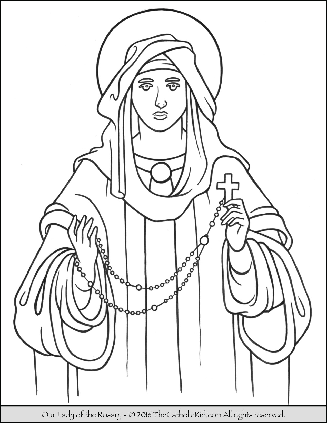 1275x1650 Our Lady Of The Rosary Coloring Page