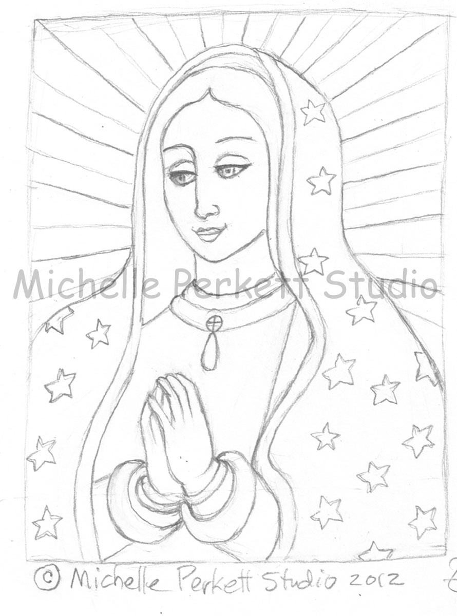 890x1200 Enchanted Inspirations Our Lady Of Guadalupe Sketch
