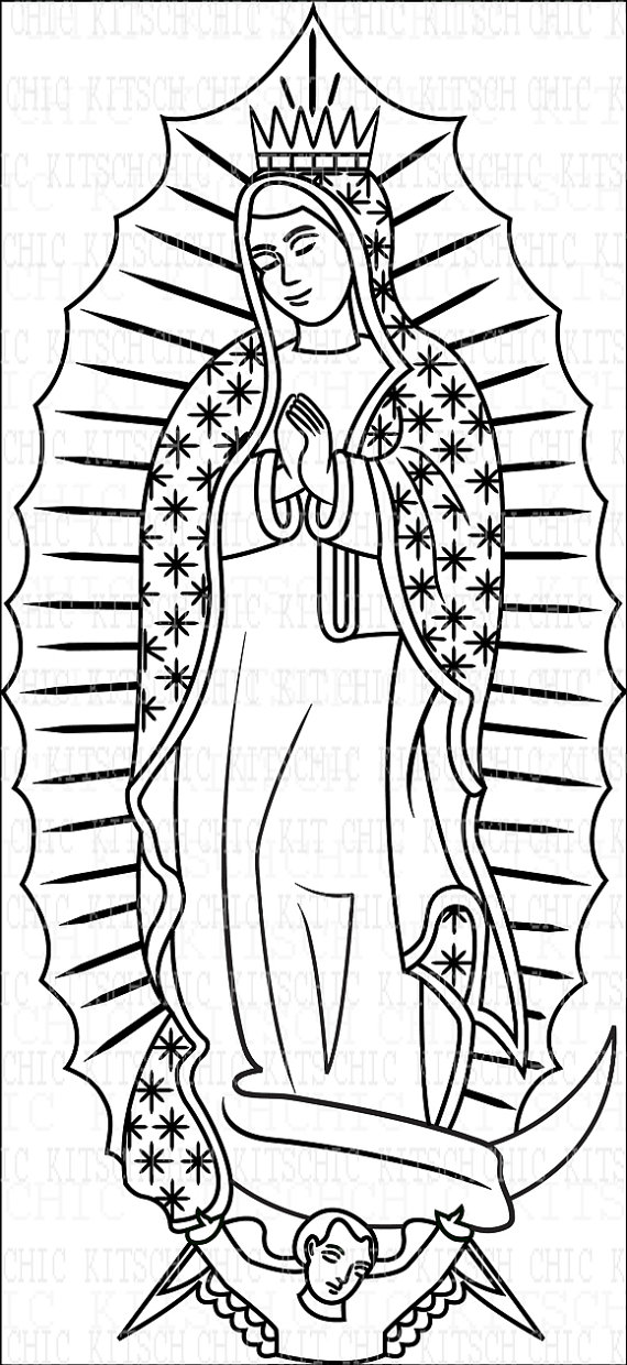570x1240 Items Similar To Color Your Own Our Lady Of Guadalupe Digital