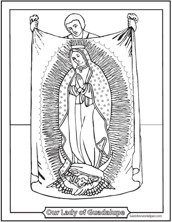 590x762 Lady Of Guadalupe Coloring Page Juan Diego Tilma