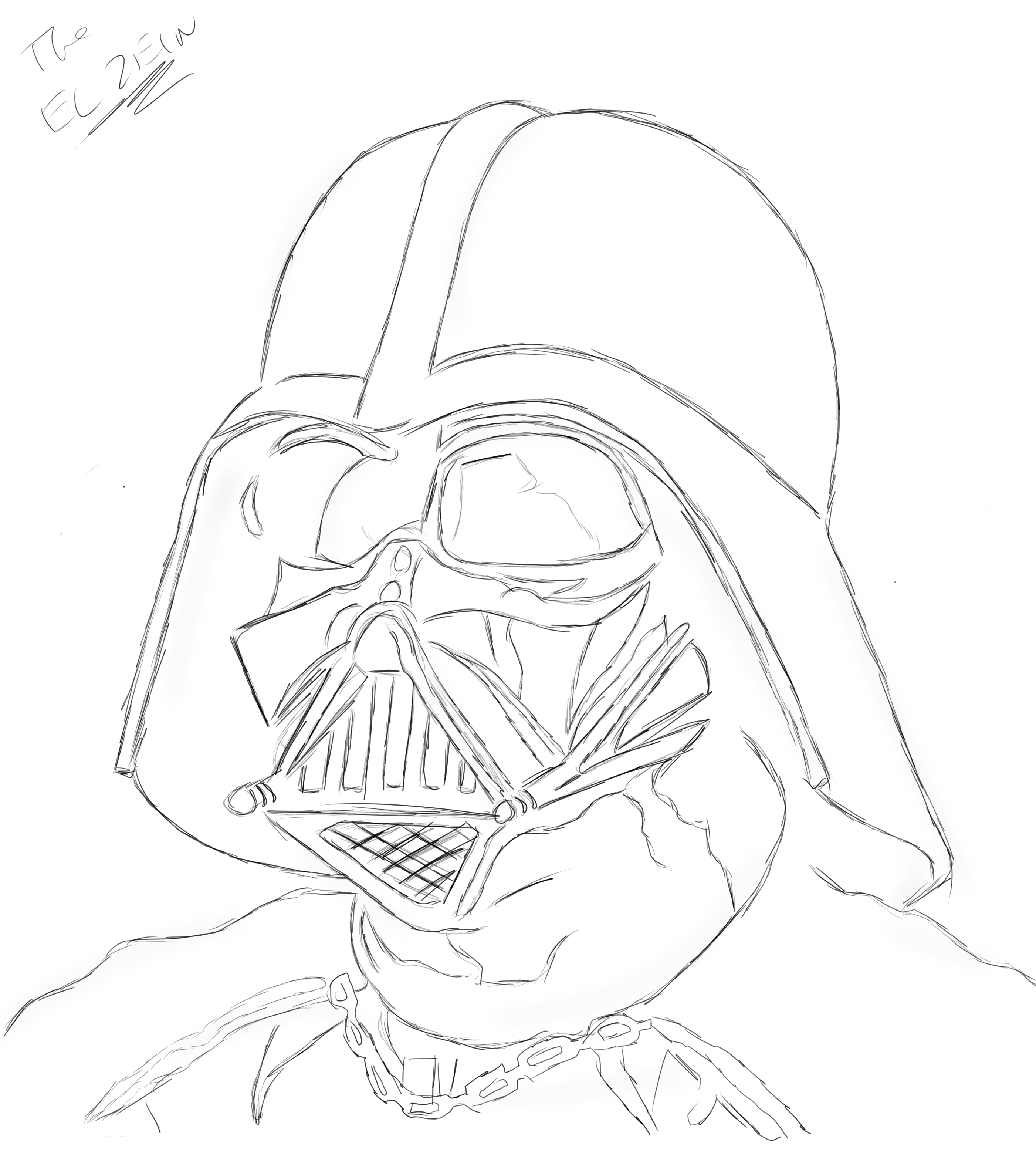 2802x3131 Darth Vader Outline Drawing Darth Vader By Theelzein