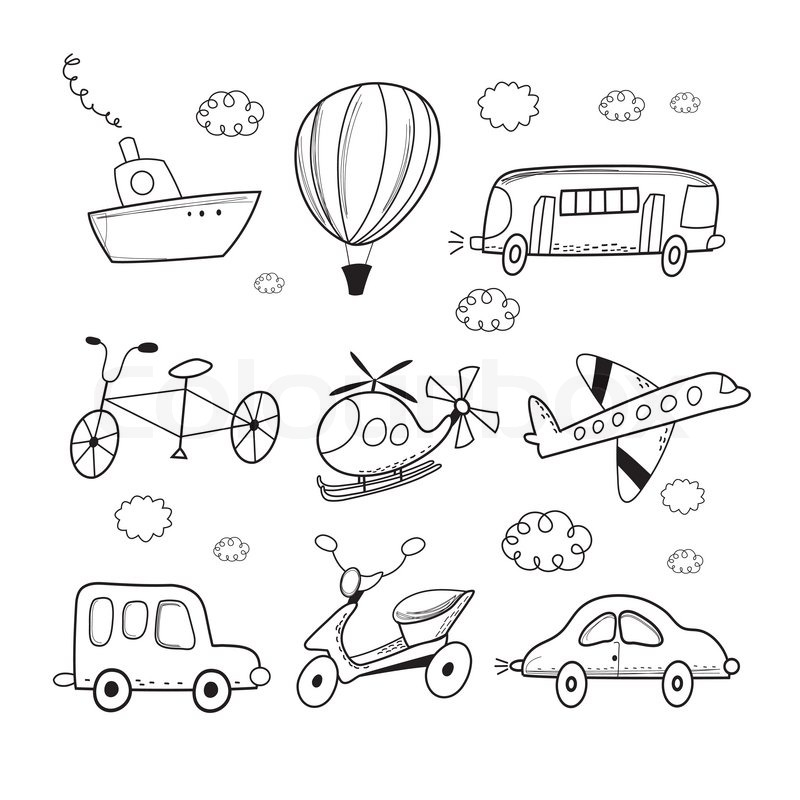 800x800 Funny Outline Drawing Of Different Types Of Transport On A White