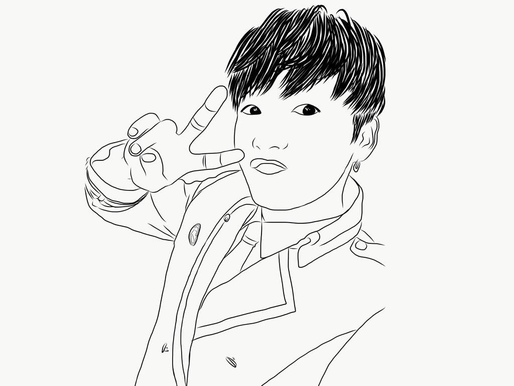1024x768 Jungkook Outline Drawing Army's Amino