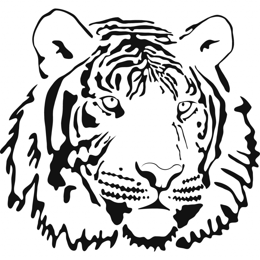 1024x1024 Tiger Outline Drawing 9 Pics Of Coloring Page Cute Clip Art Black