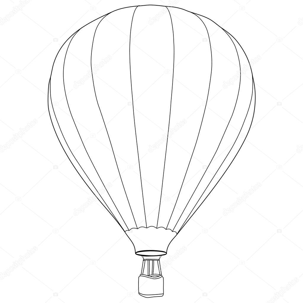 1024x1024 Air Balloon Outline Drawing Stock Vector Viktorijareut