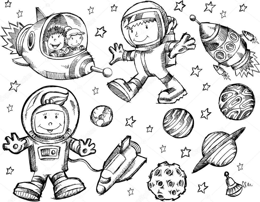 1024x794 Outer Space Sketch Doodle Vector Set Stock Vector