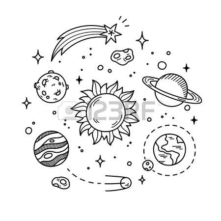 450x450 Sun Hand Drawn Solar System With Sun, Planets, Asteroids