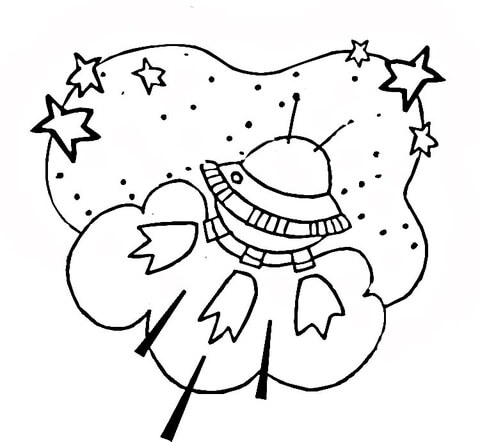 480x442 Alien Spaceship In Outer Space Coloring Page Free Printable