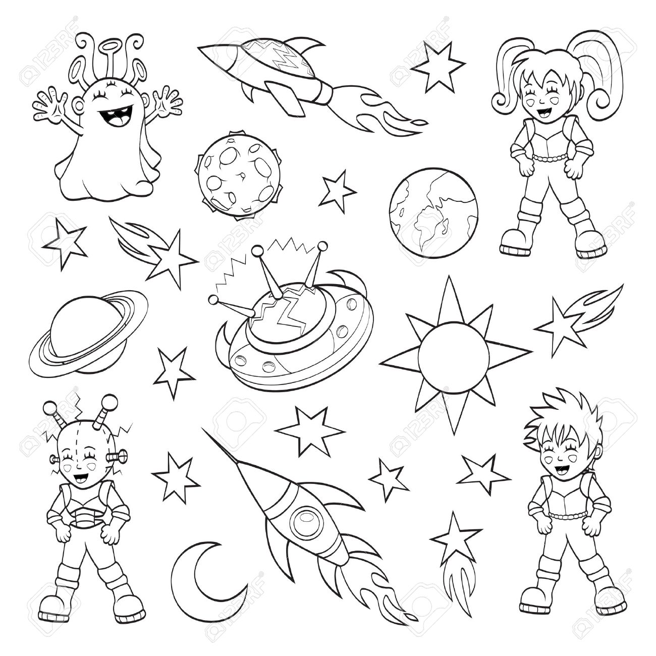 1300x1300 Cartoon Outer Space Set Coloring Book Royalty Free Cliparts
