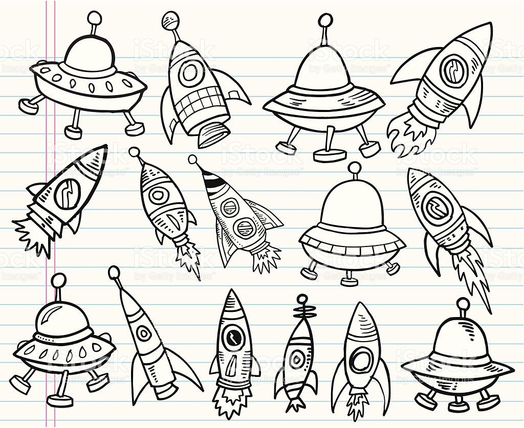 1024x837 Cute Doodle Outer Space Vector Set Outer Space, Vector Art
