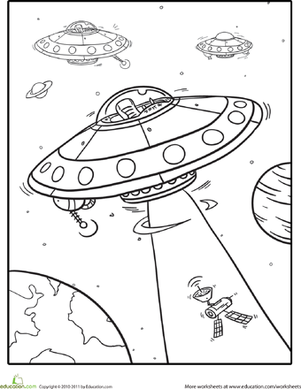 301x389 Outer Space Coloring Spaceships Worksheet