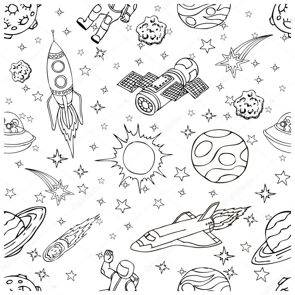 1024x1024 Outer Space Doodles, Symbols And Design Elements. Cartoon Space