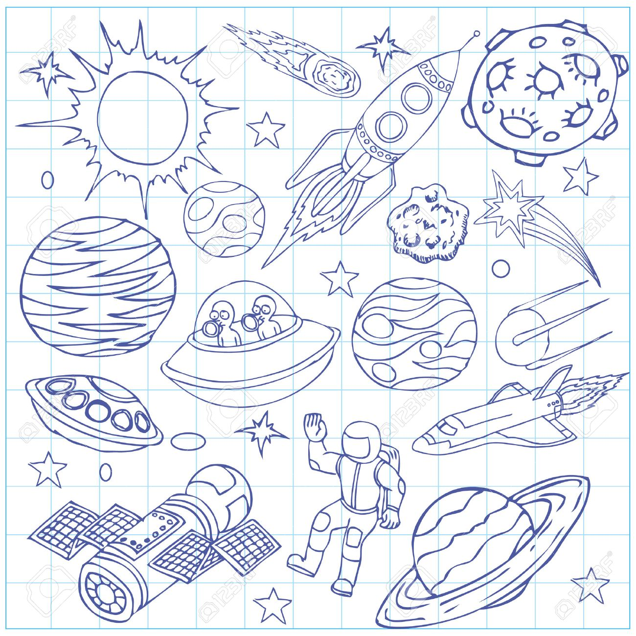 1300x1300 Sheet Of Exercise Book With Outer Space Doodles, Symbols