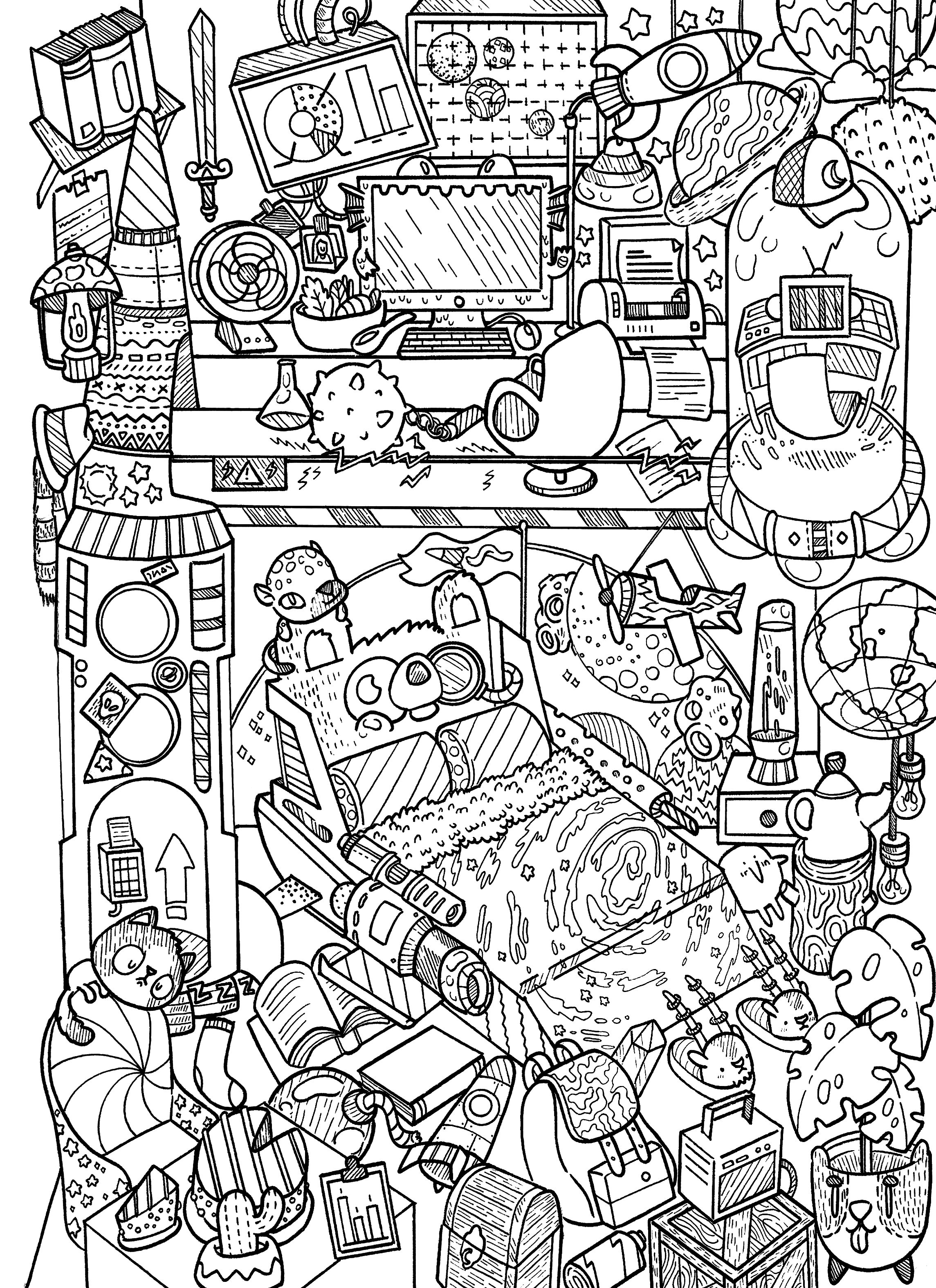 2289x3150 Doodles In Outer Space Doodle Illustrations Outer