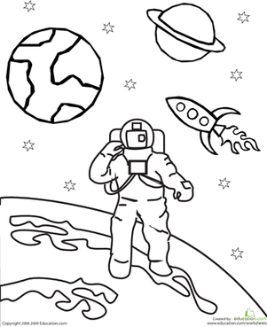301x369 Color The Outer Space Astronaut Worksheet