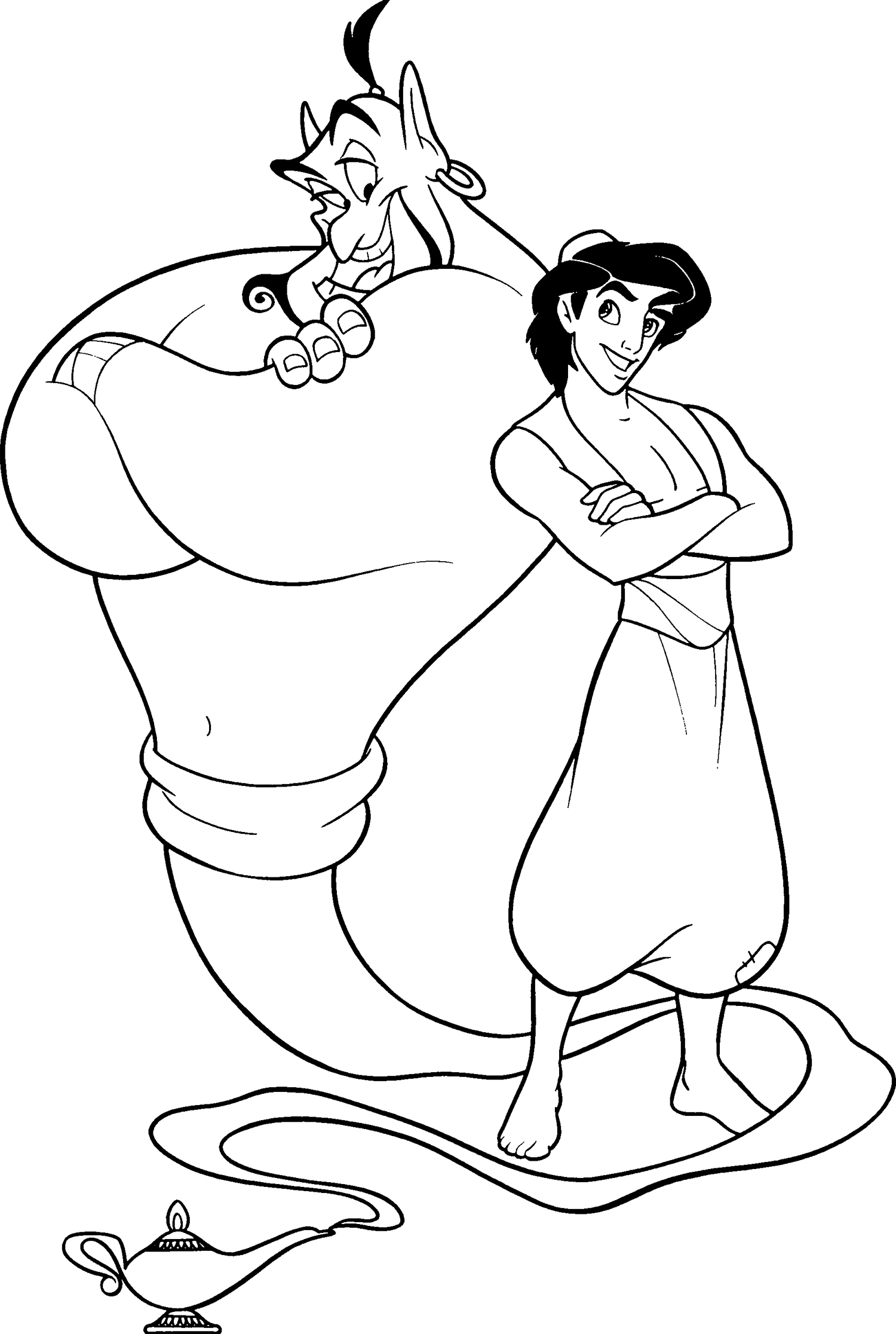 1500x2232 Trendy Aladdin Outline Learn How To Draw The Genie From Step By