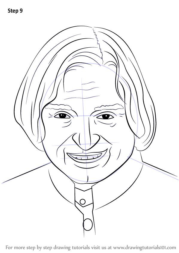598x844 Learn How To Draw Apj Abdul Kalam (Politicians) Step By Step