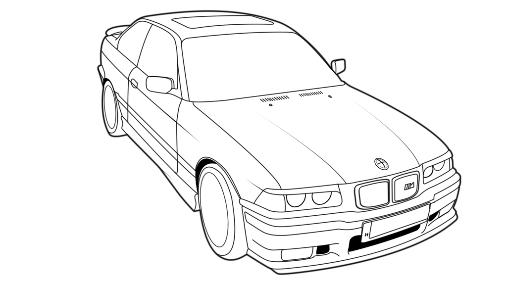 1024x576 Bmw E36 Coupe Outline Drawing By Hirion 35i