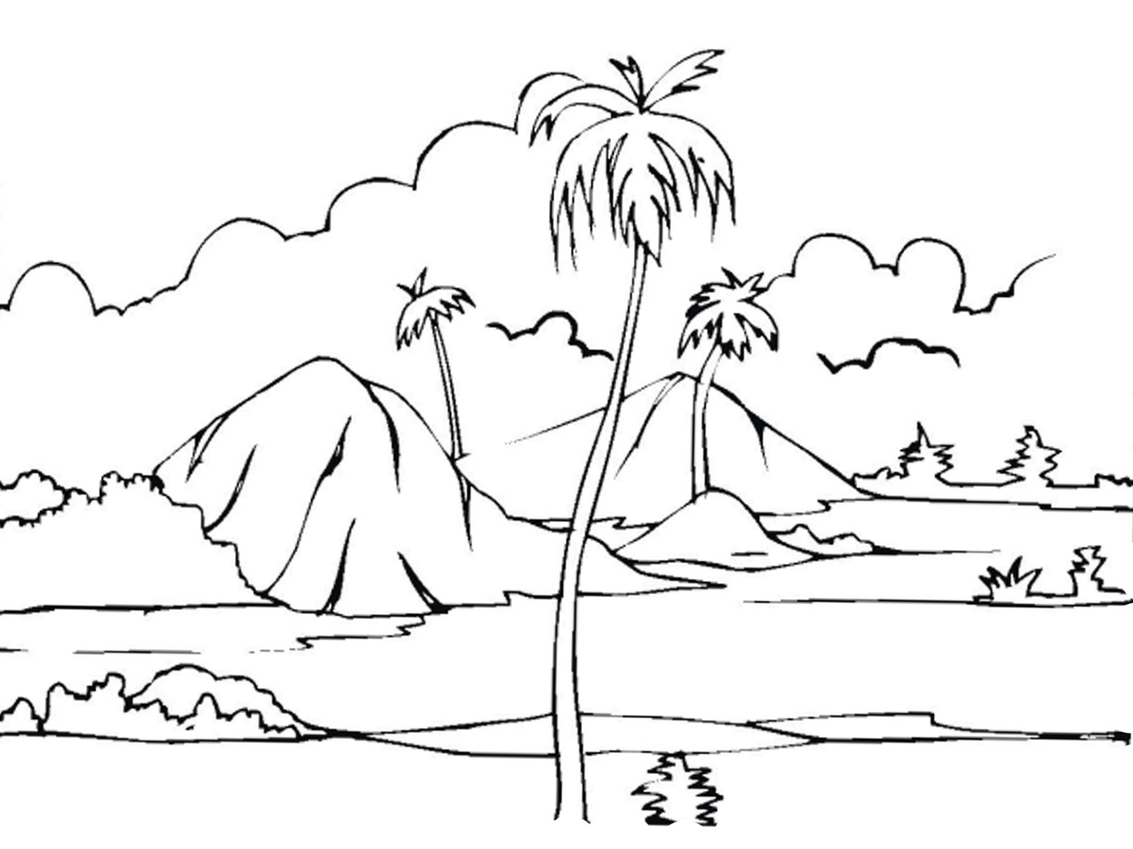 1600x1200 Outline Drawing For Scenery Scenery Coloring Pages