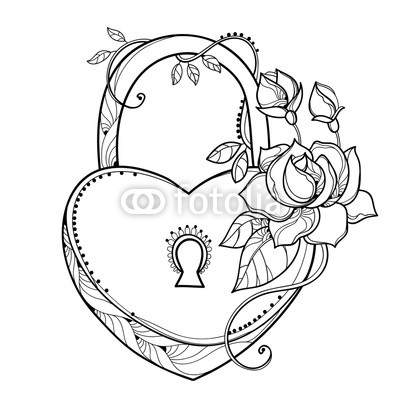 400x400 Vector Drawing Of Lock Heart With Outline Ornate Roses, Leaf