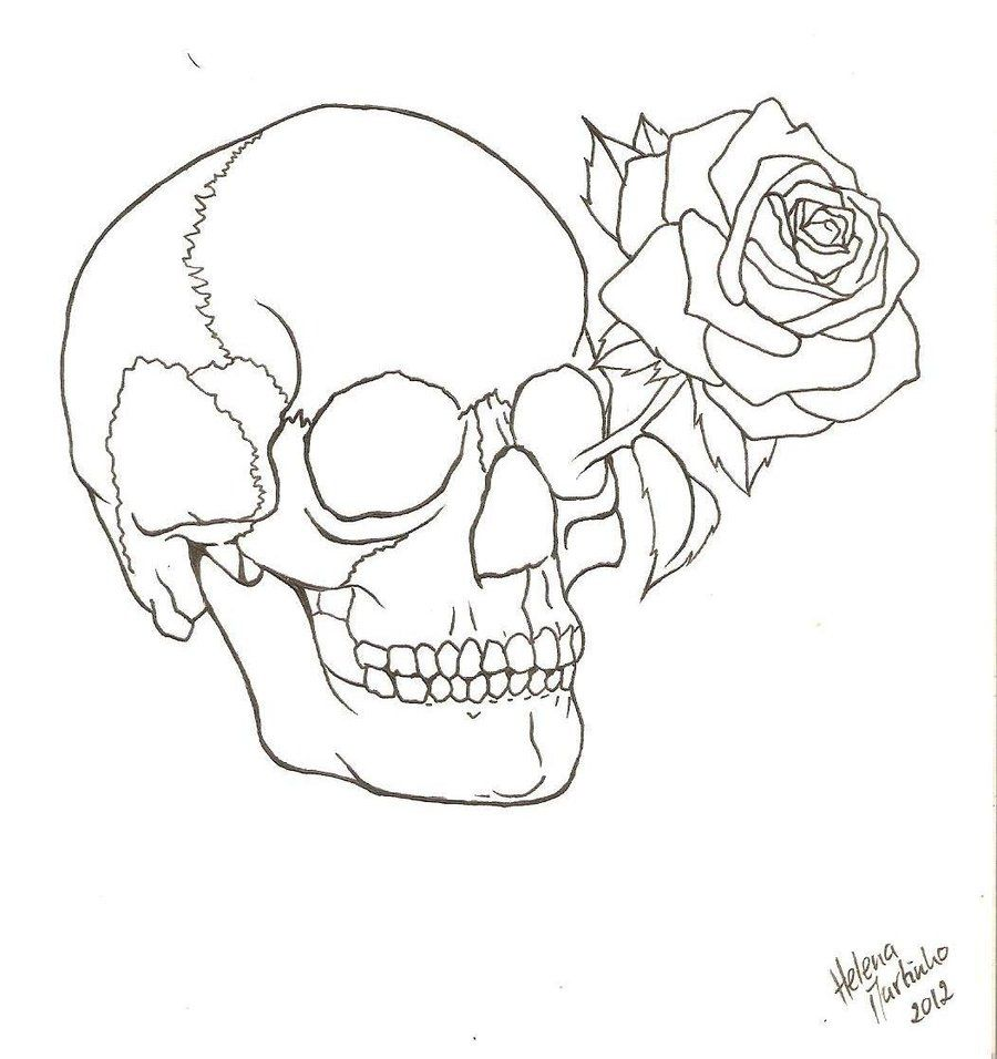 900x956 Skull Outline Art Outlines And Tattoo