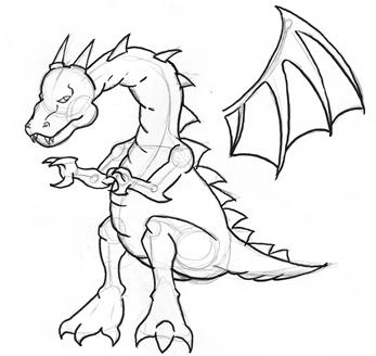 347x328 Dragon Outline Drawing Free Download