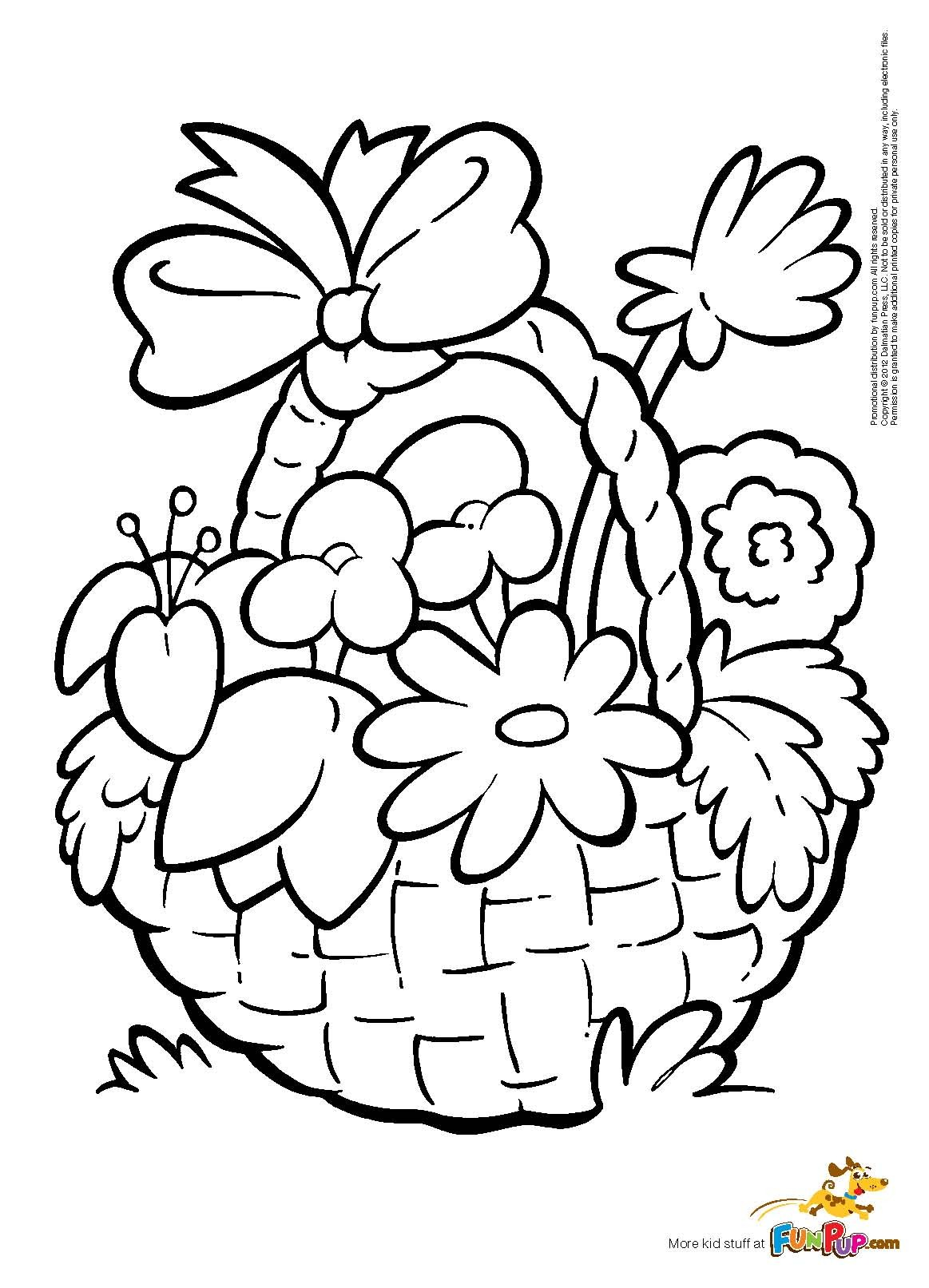 1163x1613 Flower Basket Coloring Page Free Printable Pages
