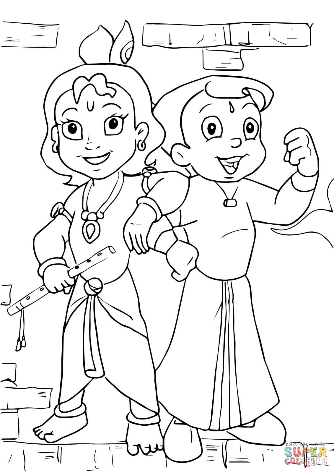 1131x1600 Chhota Bheem And Krishna Coloring Page Free Printable Pages