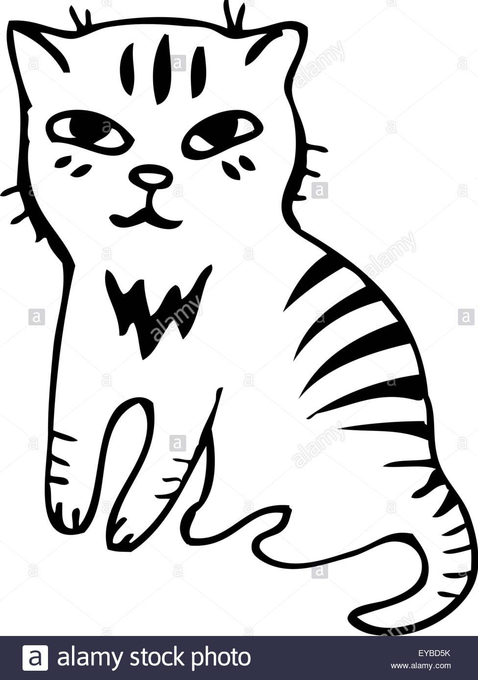 976x1390 Vector Illustration. Tabby Cat. Black Outline Sketch Stock Vector