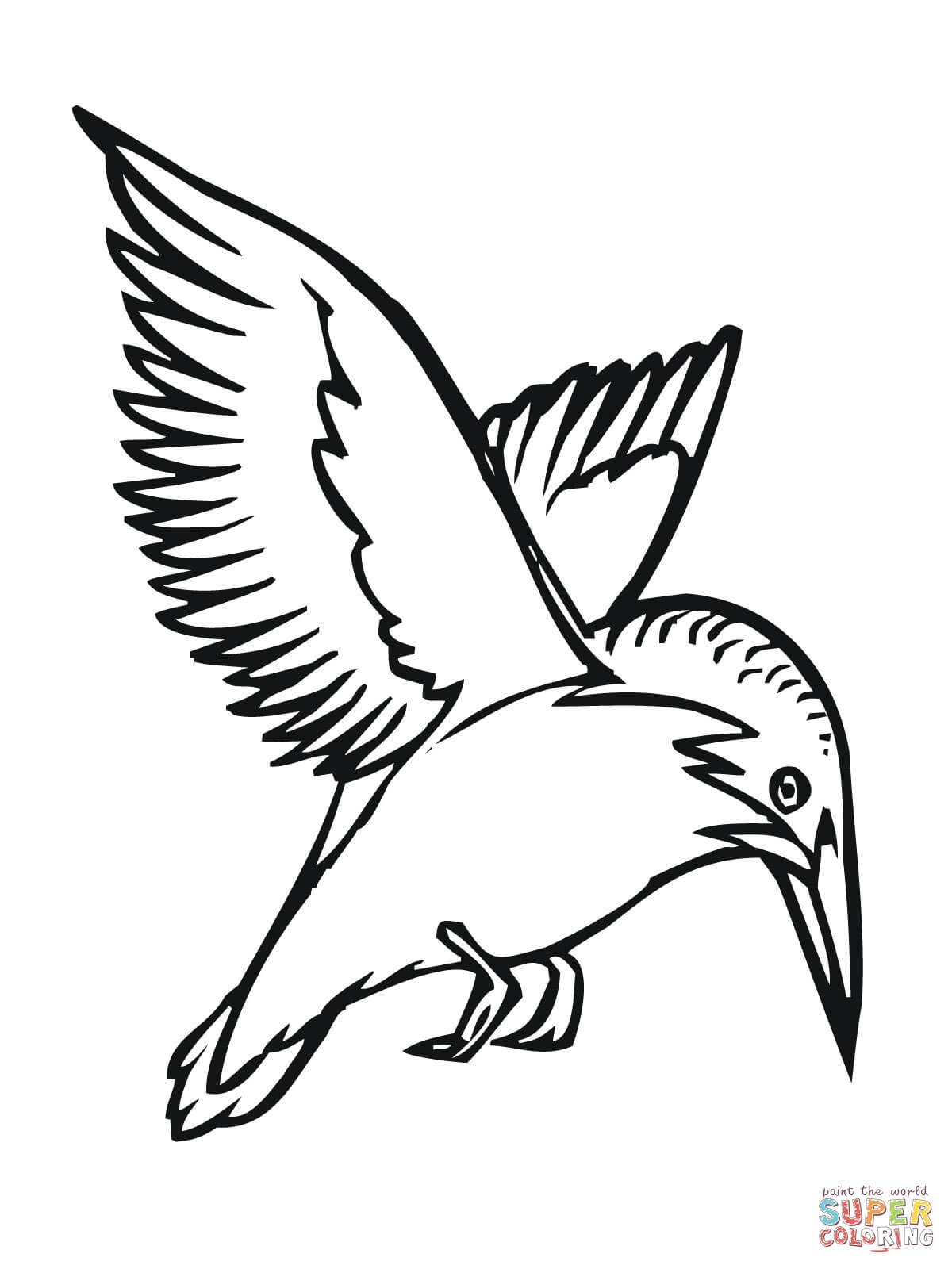 1200x1600 Flying Kingfisher Coloring Page Free Printable Coloring Pages