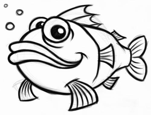 500x383 Fish Drawings Cartoon