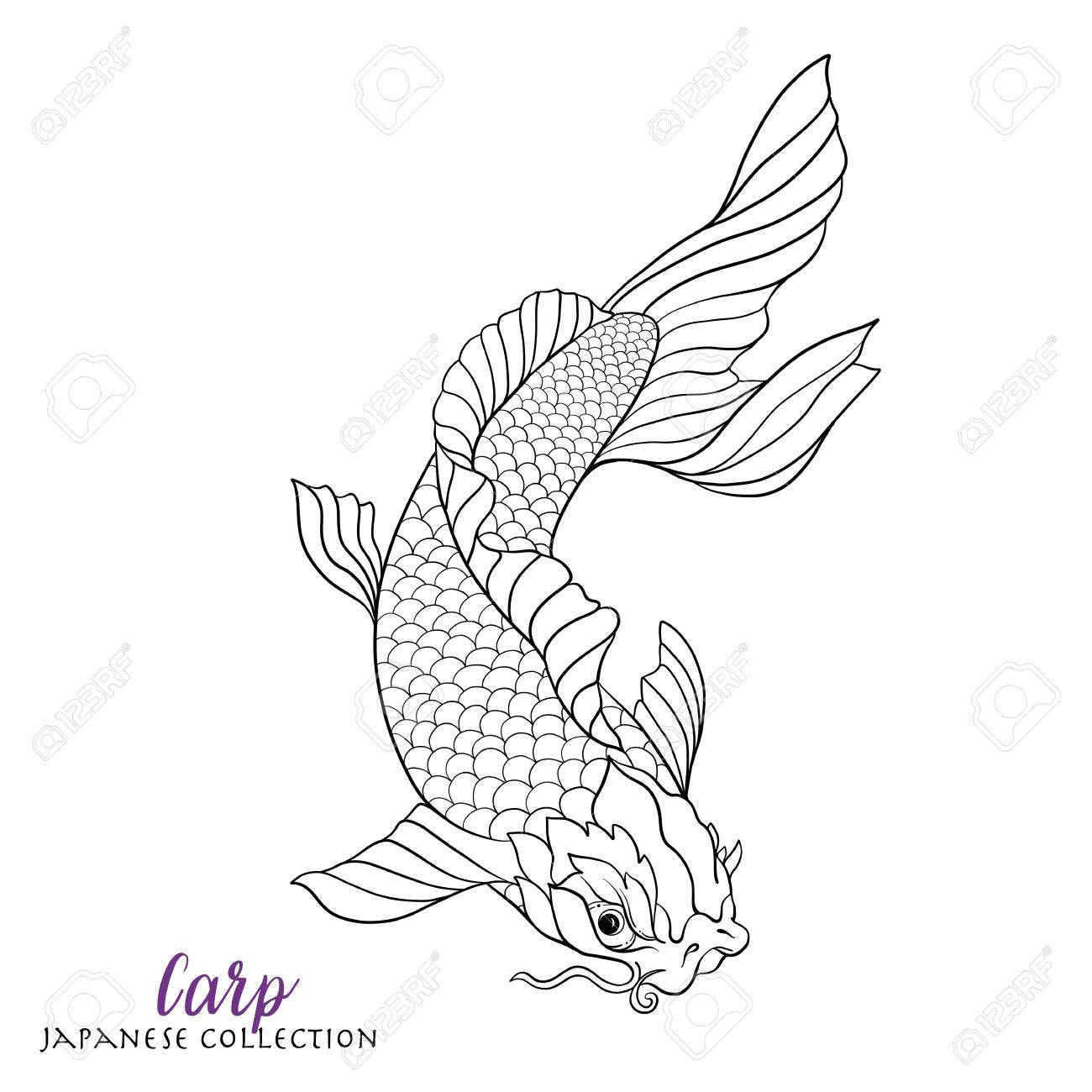 1300x1300 Japanese Carp Fish. Coloring Book For Adult. Outline Drawing