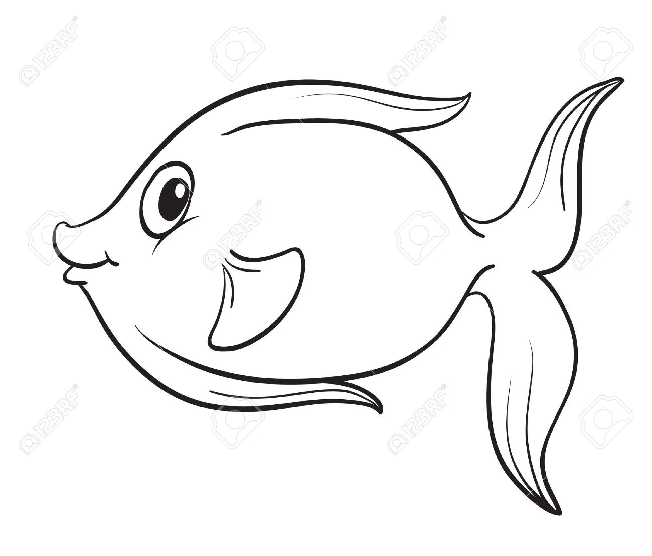 1300x1108 Detailed Illustration Of A Fish Outline Royalty Free Cliparts