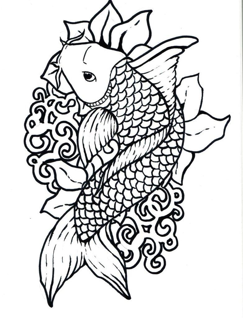 782x1022 Drawn Koi Fish Outline