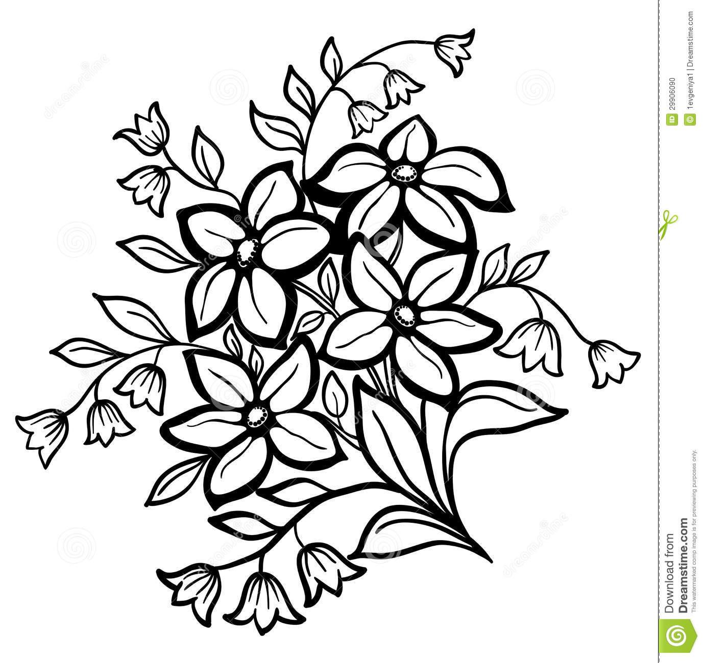 1379x1300 Outline Drawing Of Flowers Flower Arrangement, A Black Outline