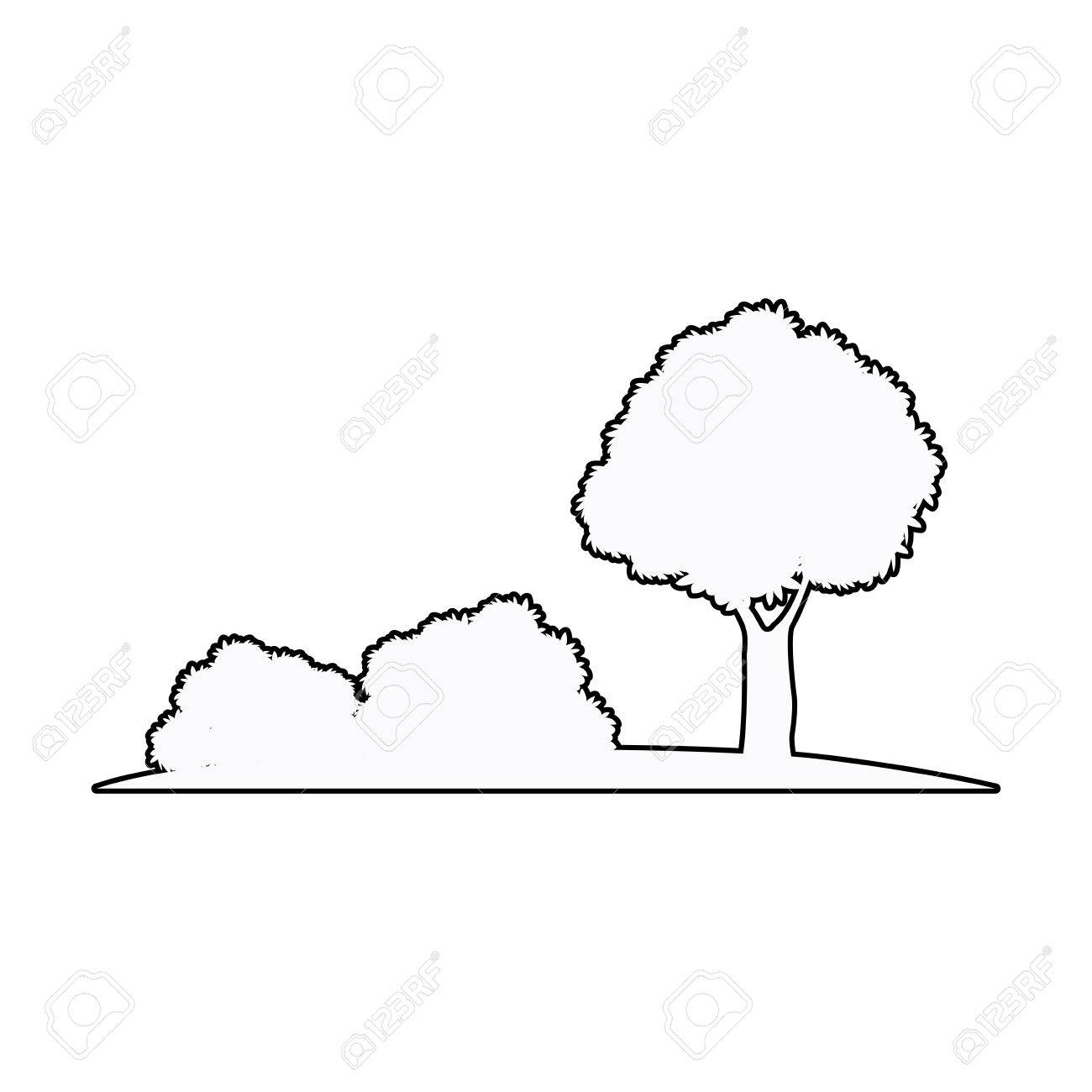 1300x1300 Tree And Bush Nature Plant Ecology Outline Vector Illustration