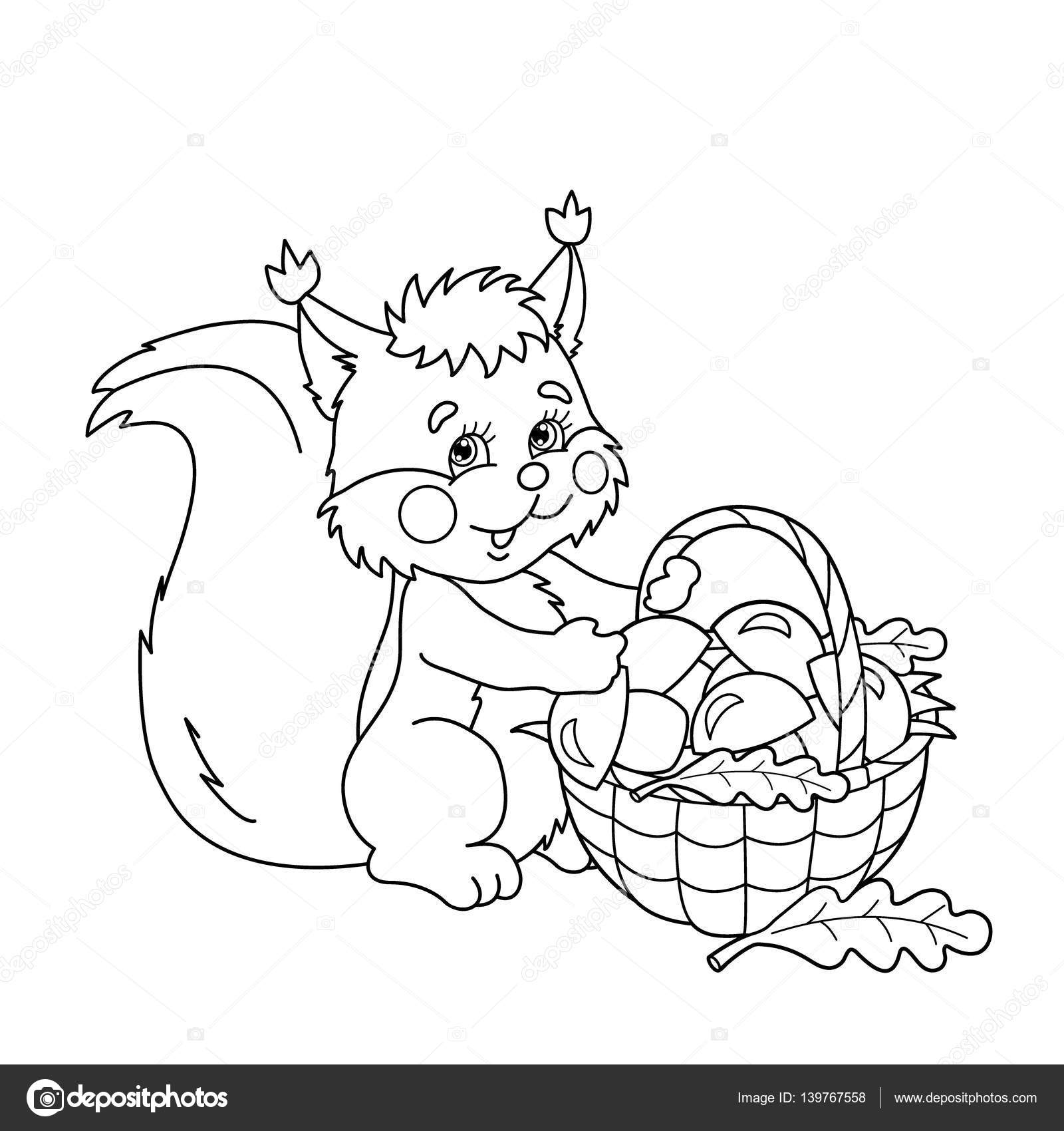 1600x1700 Coloring Page Outline Of Cartoon Squirrel With Basket Of Mushrooms