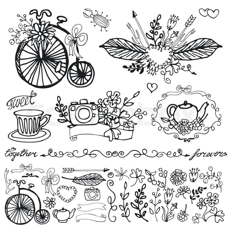 800x800 Doodle Floral Group Set.outline Hand Sketch Vintage Decor Elements