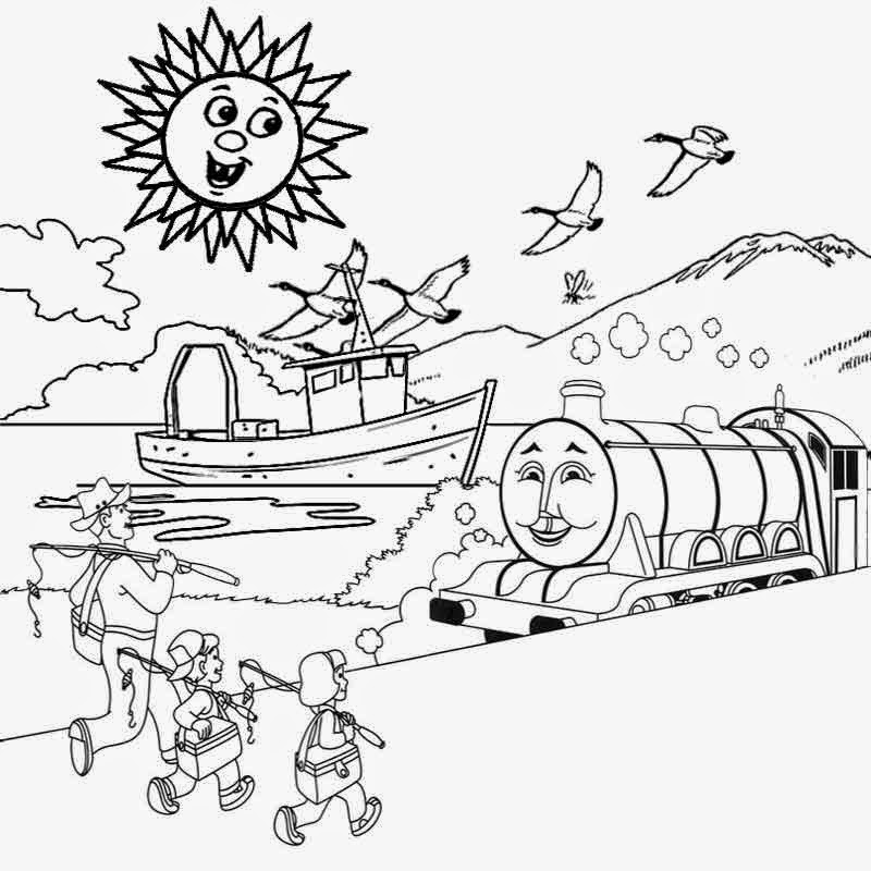 Outline drawing of scenery at free for for Scenery coloring pages