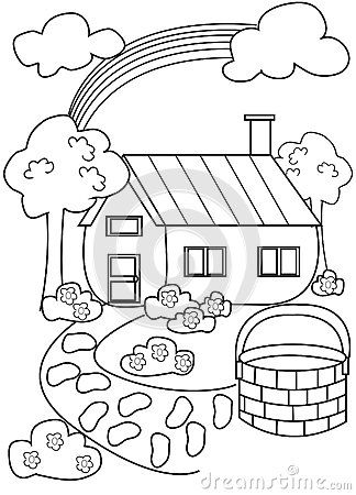 324x450 House Coloring Page Stock Illustration