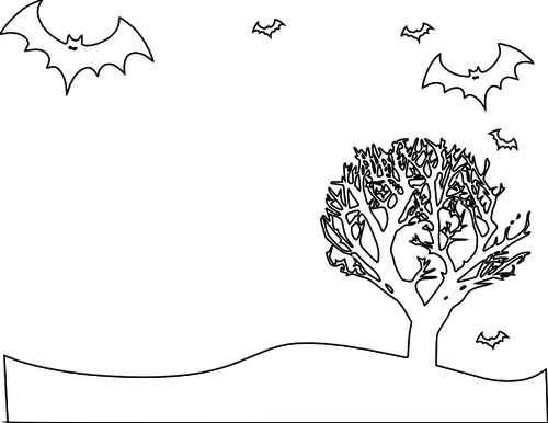 500x386 Outline Vector Illustration Of Scenery With Bats And Tree Public