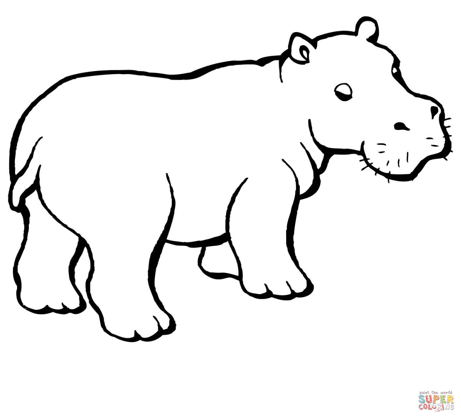 1500x1360 Free Coloring Hippo Outline Drawing